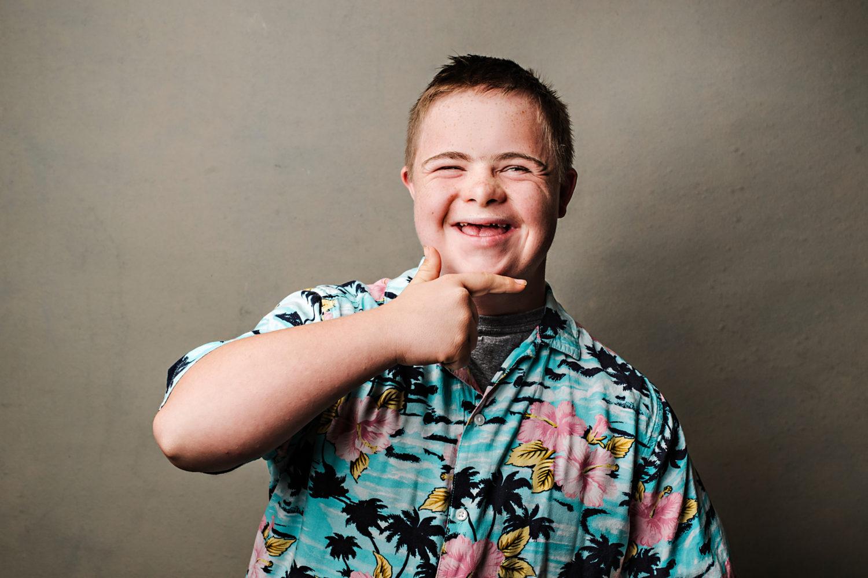 Young man in Hawaiian shirt