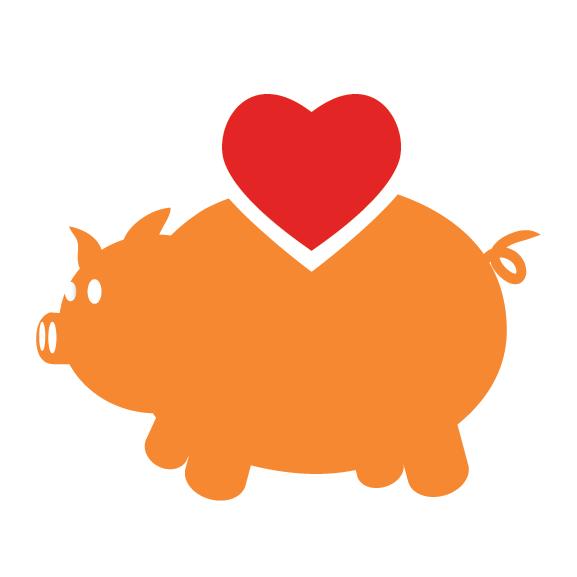 heart and piggy bank